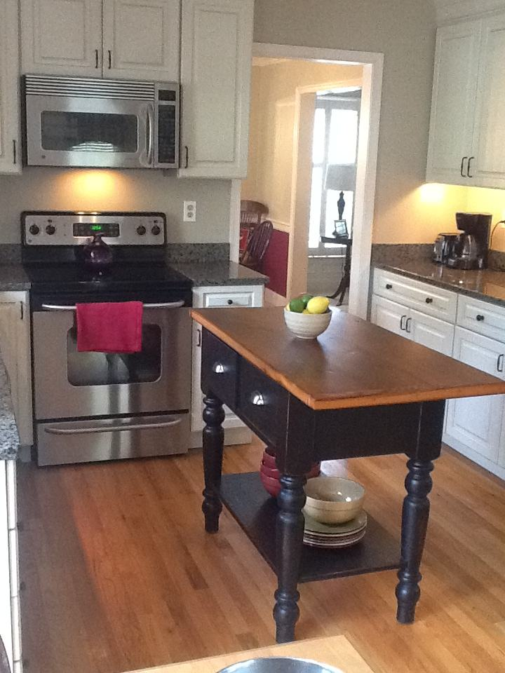 Small Kitchen Island With A One Sided Overhang Furniture