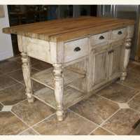 Distressed White Kitchen Island with Butcher Block ...