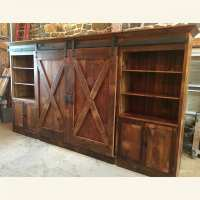 barn door entertainment cabinet with X barn doors ...