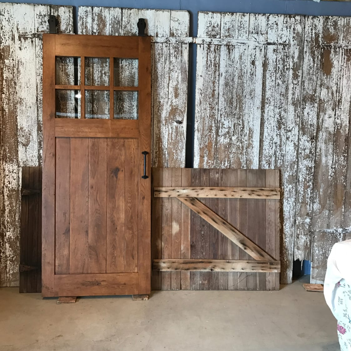 Reclaimed Oak Barn Door With Glass Furniture From The Barn