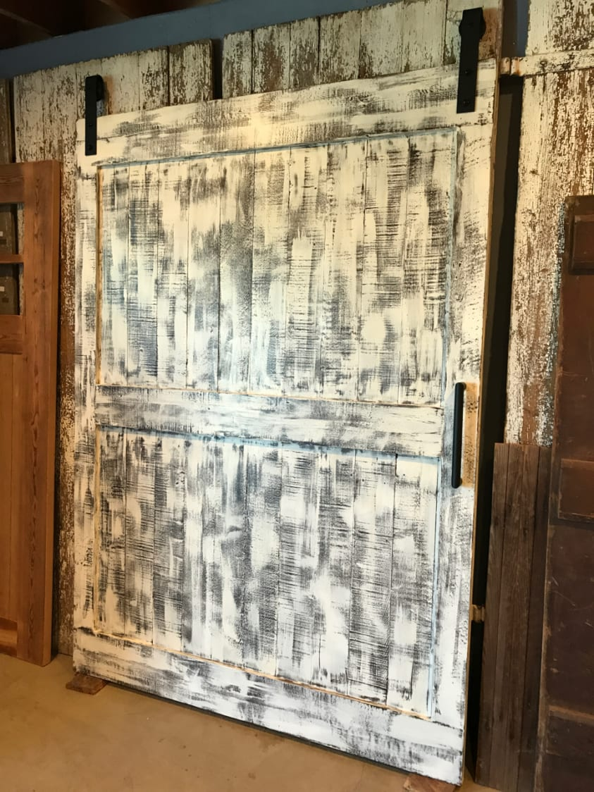 Ranch Style Barn Door in Distressed White  Furniture From