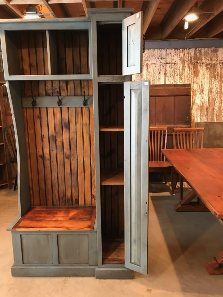 unfinished kitchen chairs triple sink small hall tree and side cabinet | furniture from the barn