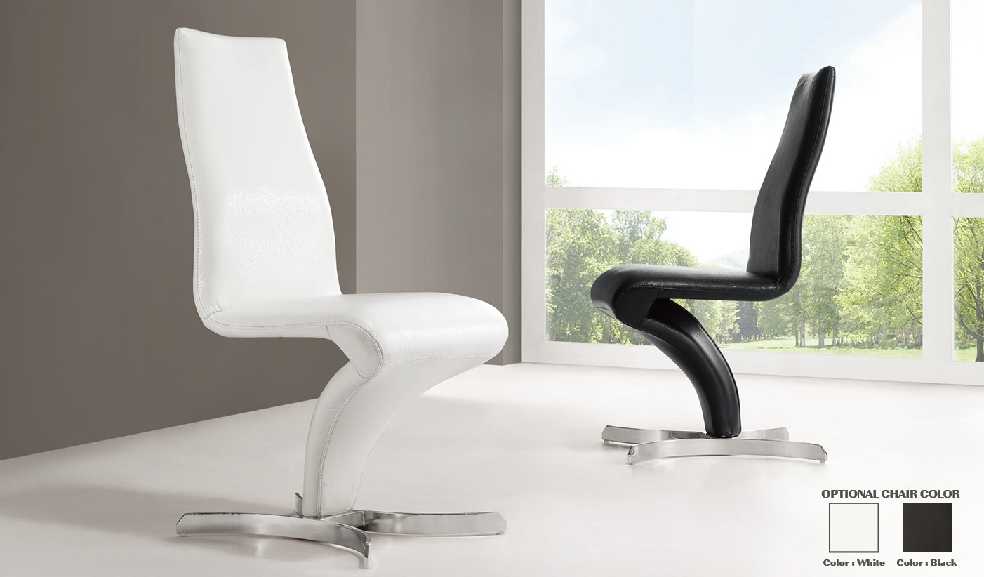 White Leather Dining Room Chairs Naples Z Shape Black Faux Leather Modern Dining Chair 21168