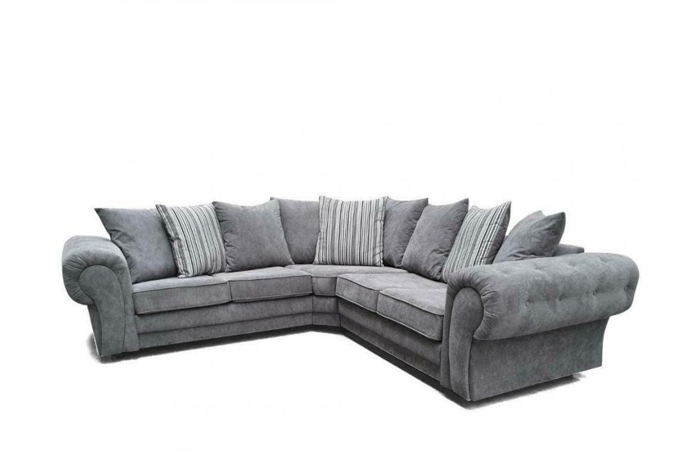 chingford grey fabric l shape corner sofa