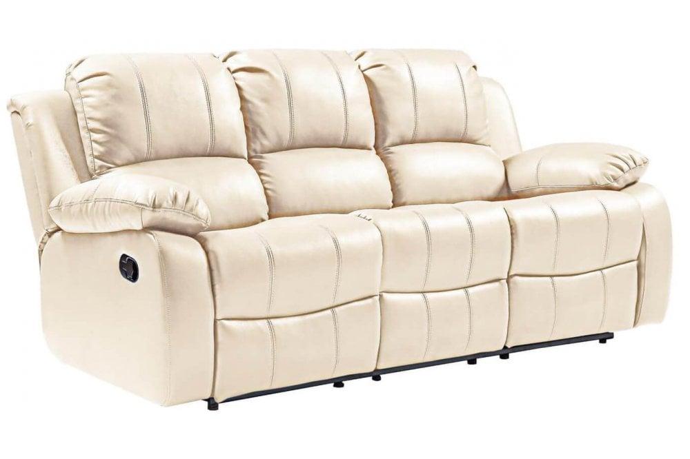 furnitureinstore valencia leather sofa cream recliner 3 seater