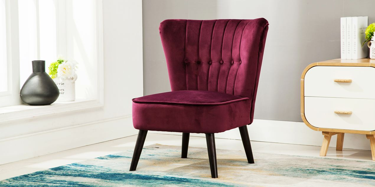 Purple Accent Chair Aylenne Accent Chair In Purple Velvet