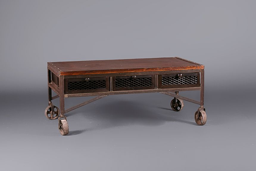 Industrial Aged Coffee Table on Wheels Outdoors
