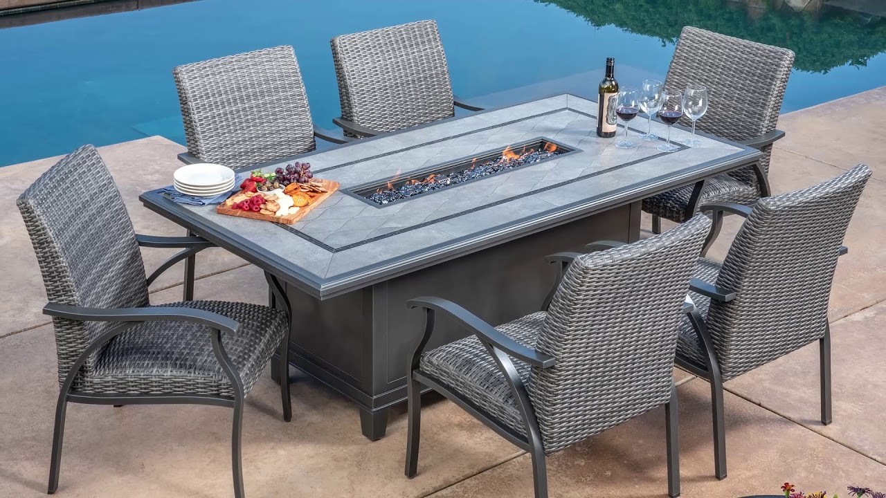 Costco Sunvilla Indigo 7pc Woven Dining With Fire Pit Table Video