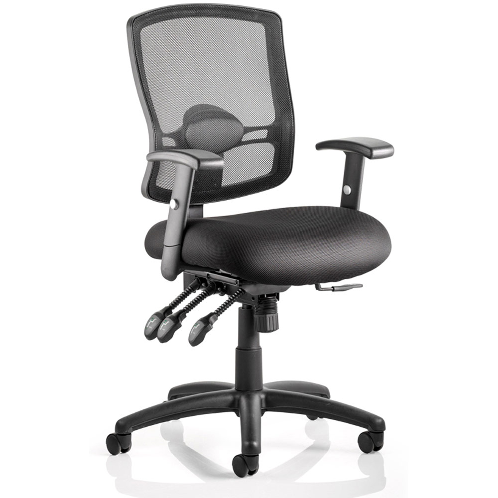 How To Adjust Office Chair Dynamic Portland Iii Task Operator Chair Black Mesh Back With Arms