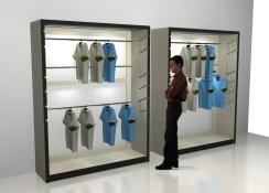 display lemari pakaian ketinggian bisa diatur