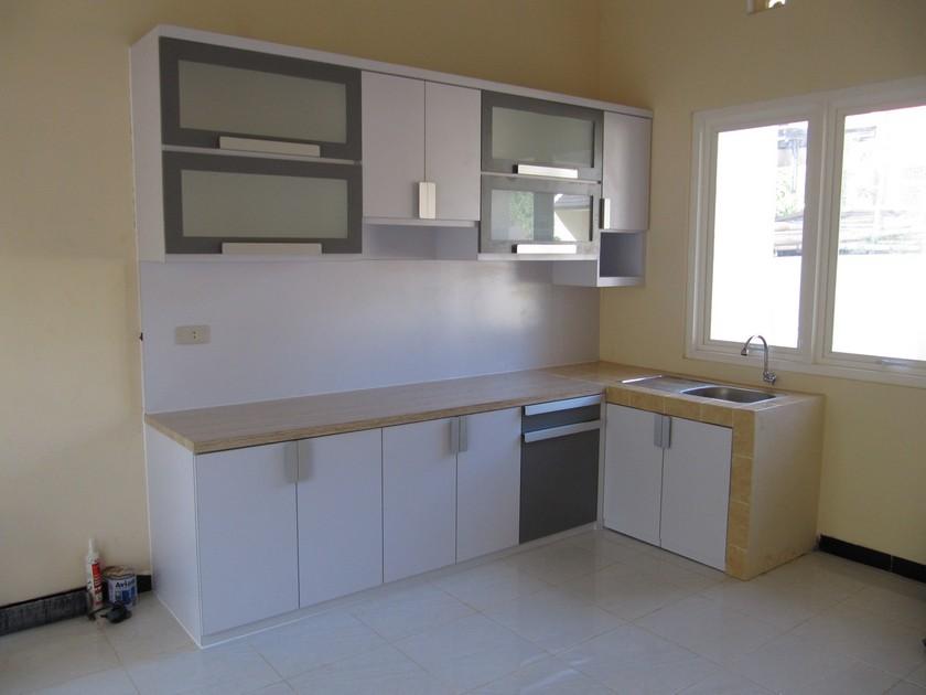 Kitchen Set Bentuk L Minimalis Warna Putih 1 Furniture