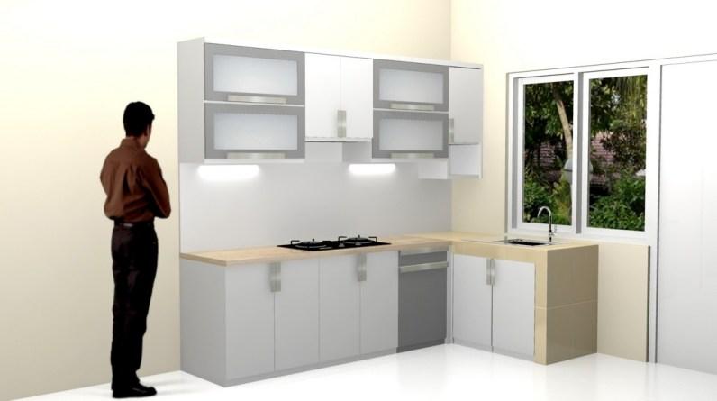 kitchen set bentuk l minimalis warna putih (8)