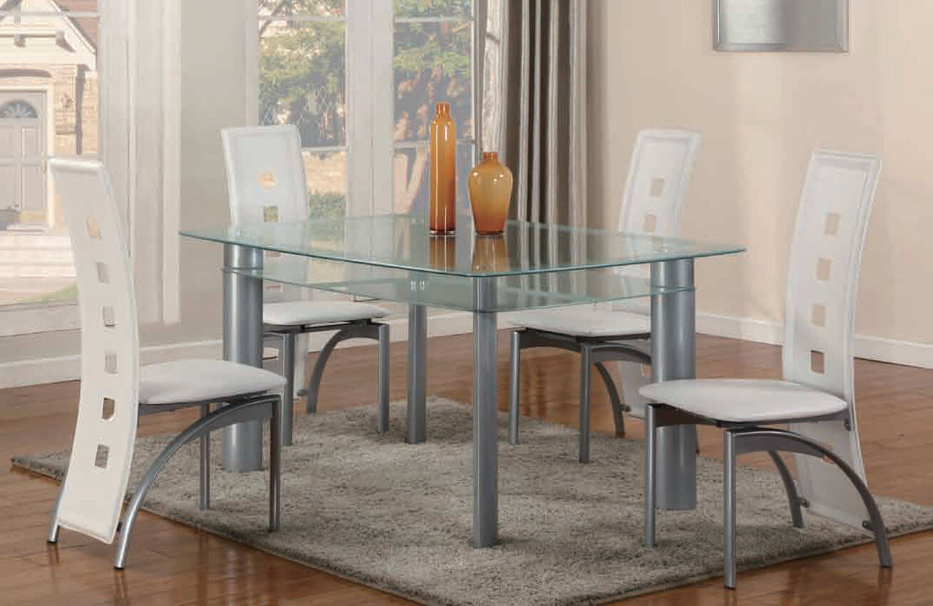 White Dining Room Chair 2222 White 5 Piece Metro Glass Dinette Set