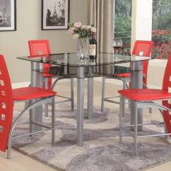 Red Counter Height Dining Chairs Wholesale Lycra Chair Covers Australia 5 Piece Metro Set Room Sets