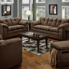 Corey Chocolate Brown Sectional Sofa Springfield Bulldozer And Loveseat Fabric Living Room