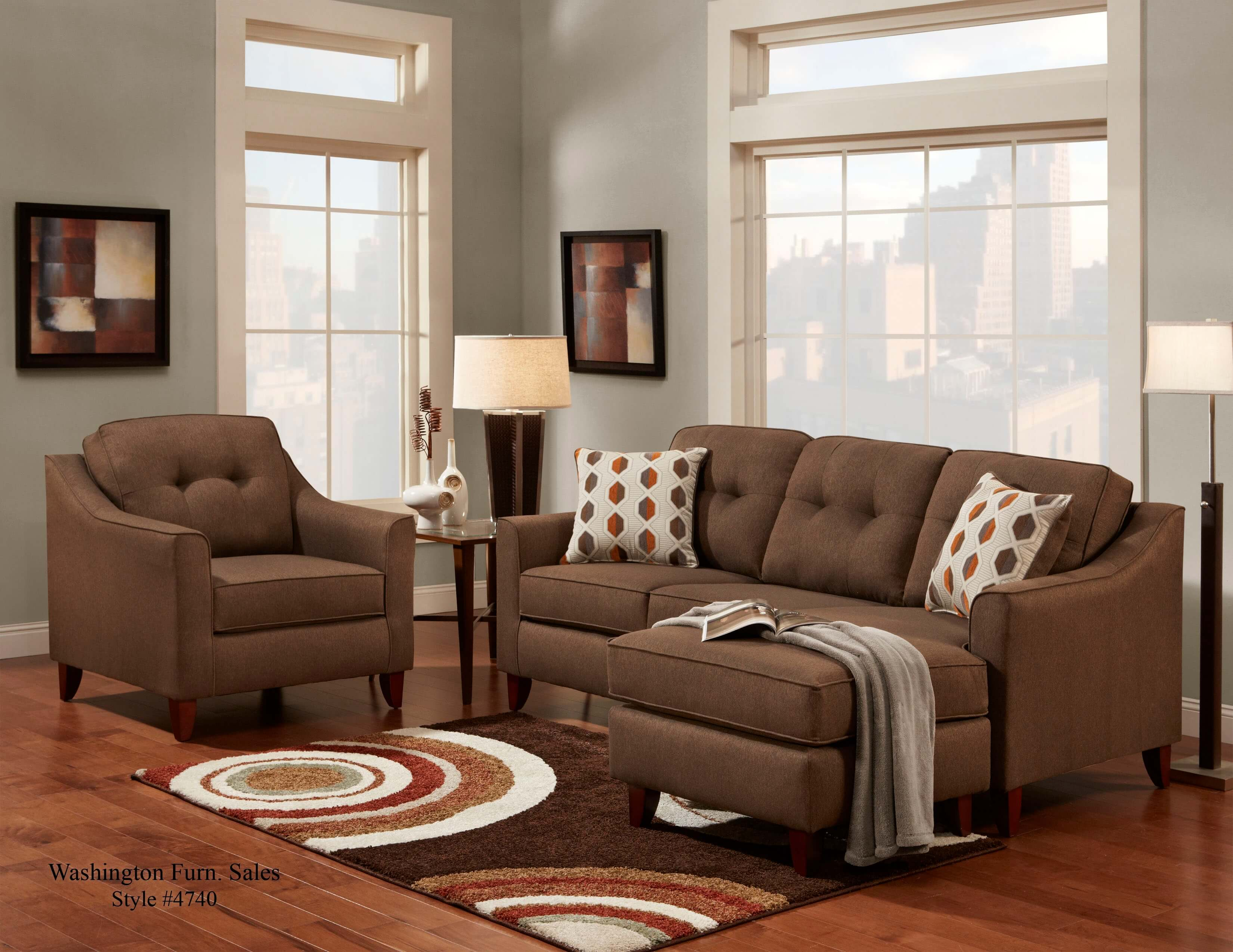 buchannan faux leather sectional sofa with reversible chaise chestnut tiny chocolate poundex f7602 3 pcs