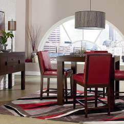 Red Counter Height Dining Chairs Black And White Striped Chair Standard Couture Elegance Set 10571 Discontinued