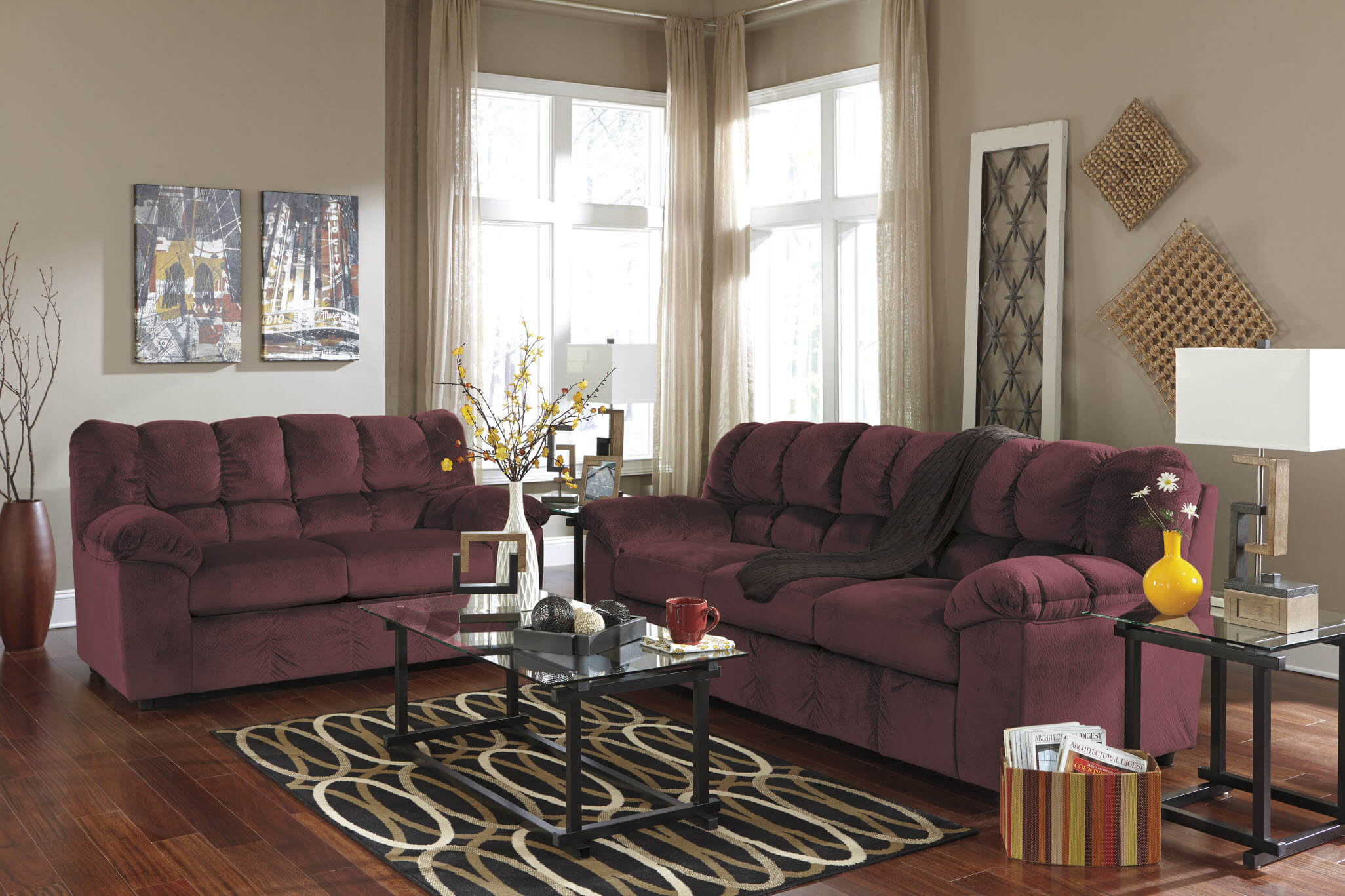 ashley red leather sofa stretch slipcovers canada julson burgundy and loveseat | fabric living room sets