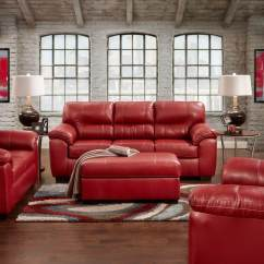 Loveseat Sleeper Sofa Leather Small U Shaped Sectional Austin Red And | Living Room Sets