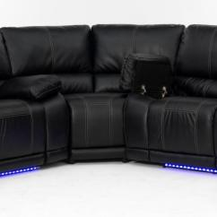 Power Reclining Leather Sofa Sets Big Loop Electra Sectional With Led Lights