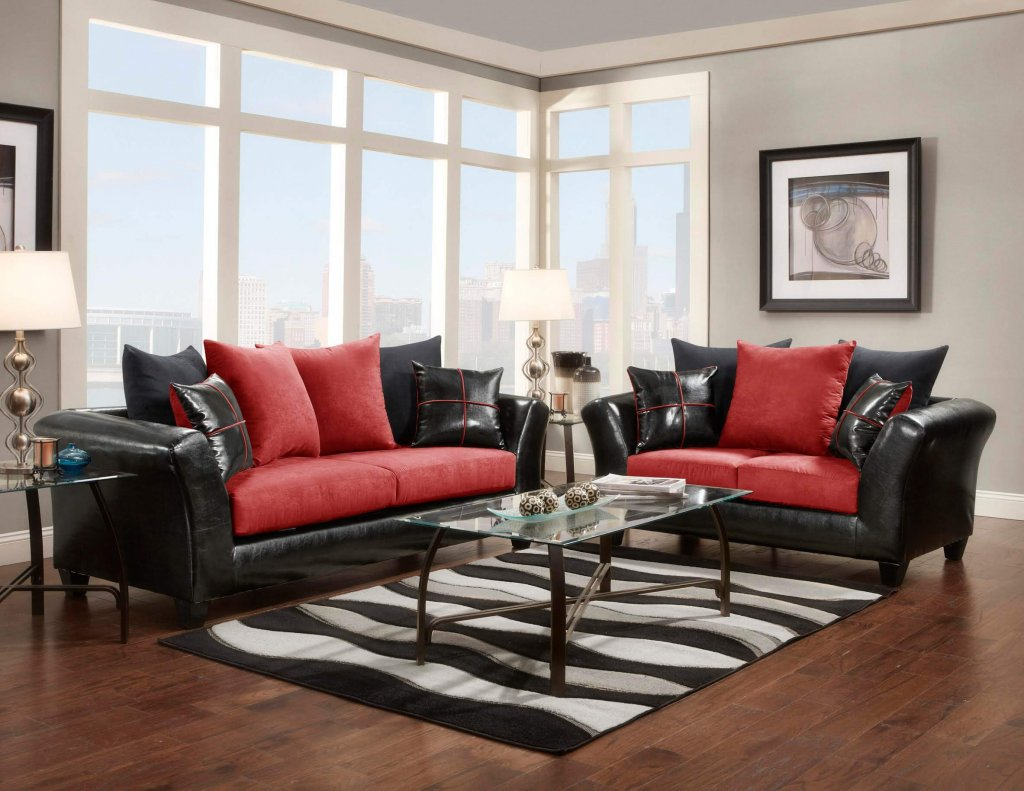 Flat Suede Red Sofa and Loveseat  Fabric Living Room Sets