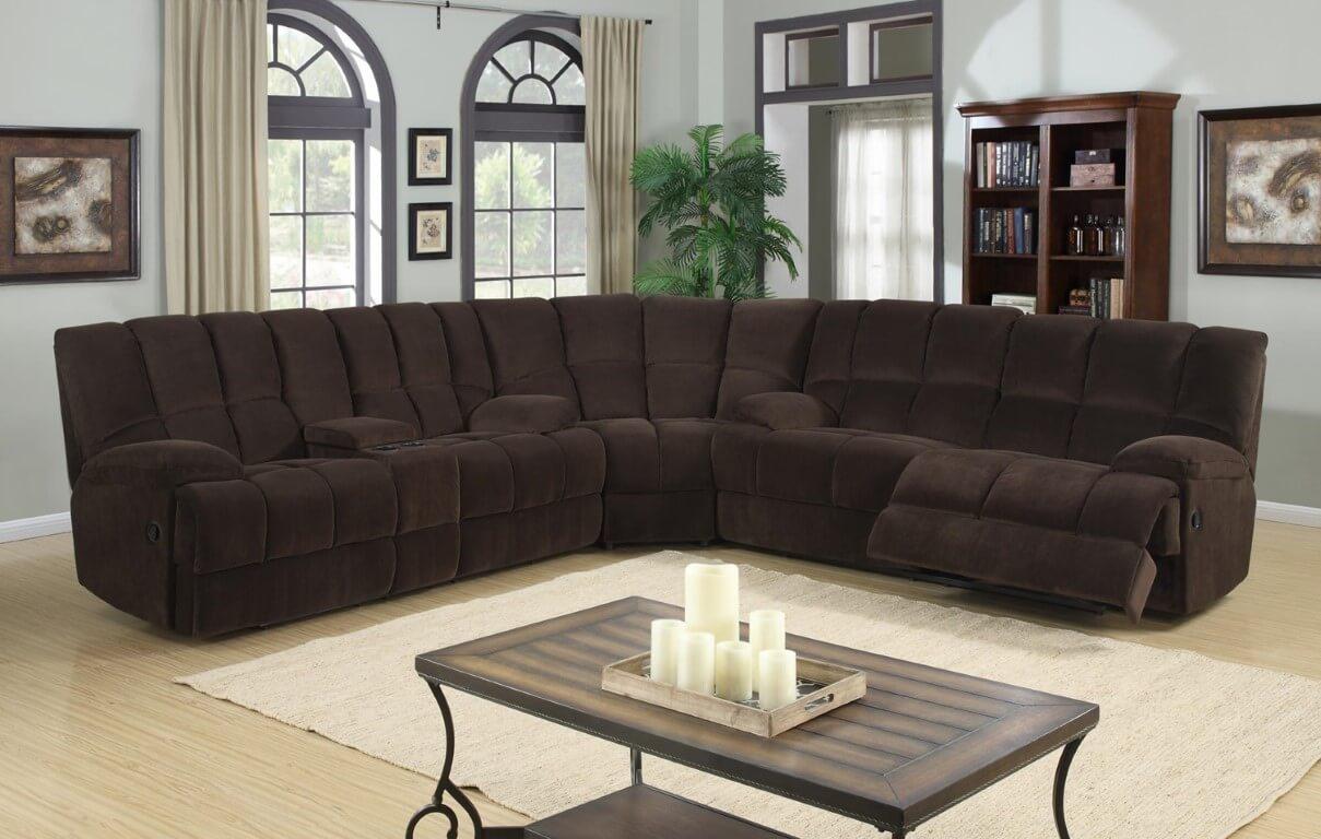 corey chocolate brown sectional sofa sleeper twin dona reclining sets