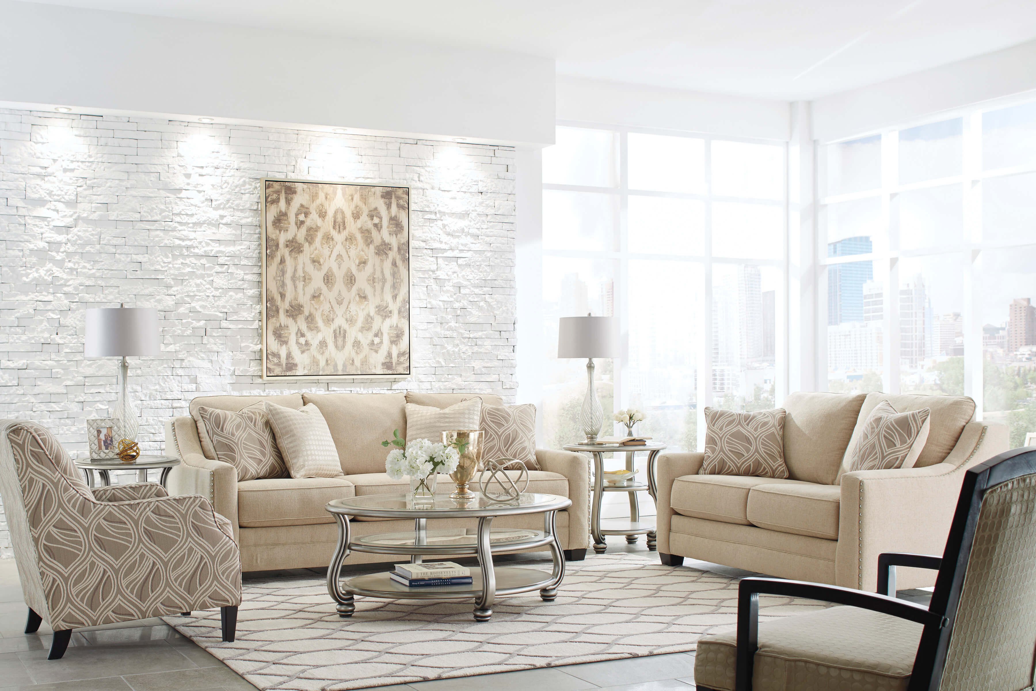 Mauricio Linen Contemporary Sofa And Loveseat Living