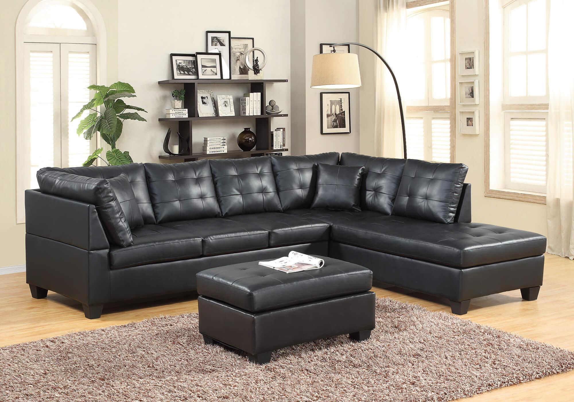 Black Leather Like Sectiona