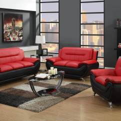 Red And Black Living Room Sets Navy Blue Set Leather 2705