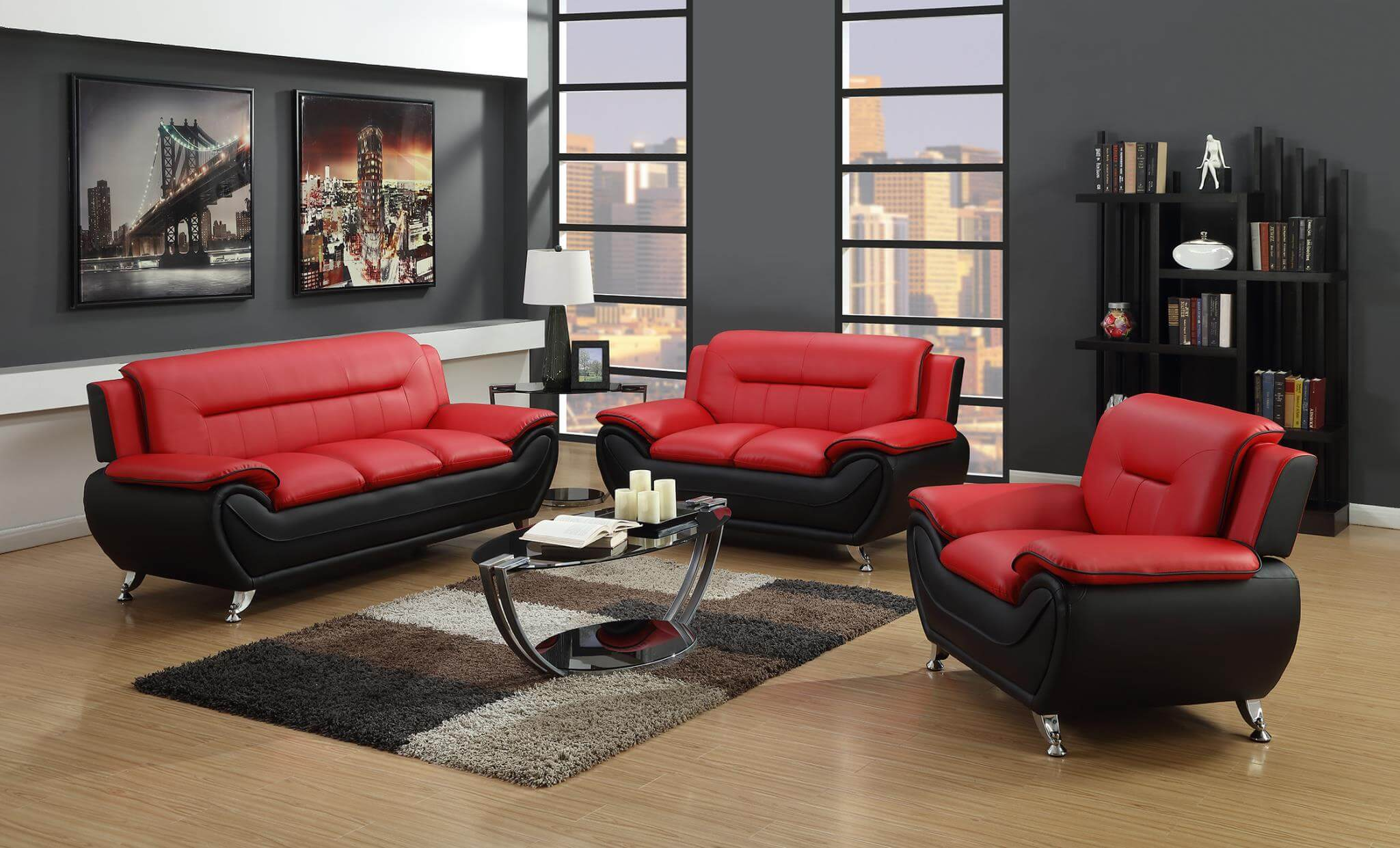 Red Living Room Chair 2705 Red Black Living Room Set