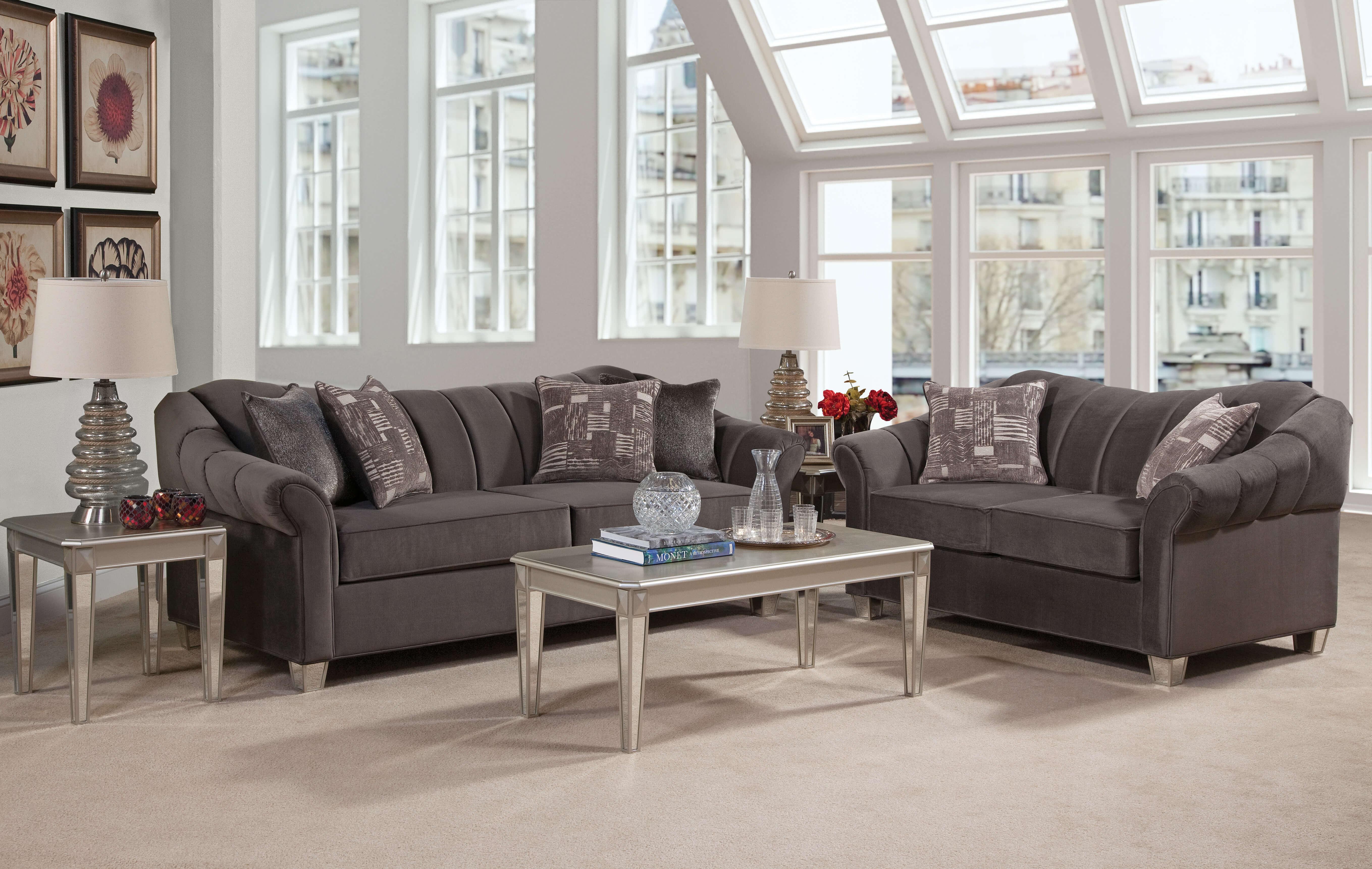 Piccolo Graphite Mirrored Leg Sofa and Loveseat