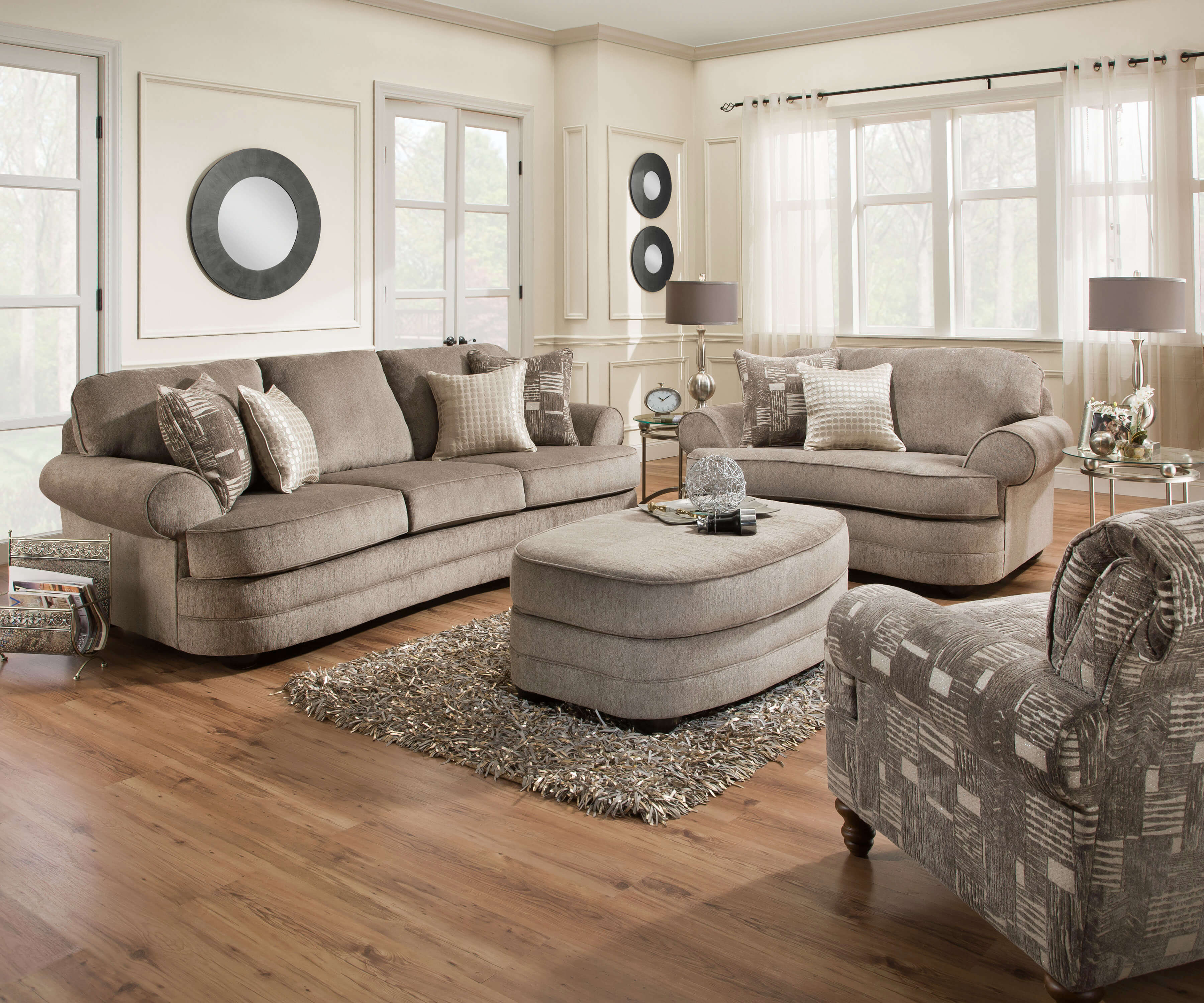 chair 1 2 canvas folding kingsley pewter sofa and ottoman set by simmons