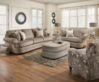 Kingsley Pewter Sofa, Chair 1/2, and Ottoman Set by Simmons