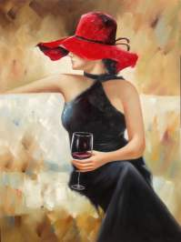 Lady with Wine Glass Framed Wall Art | Urban Furniture Outlet