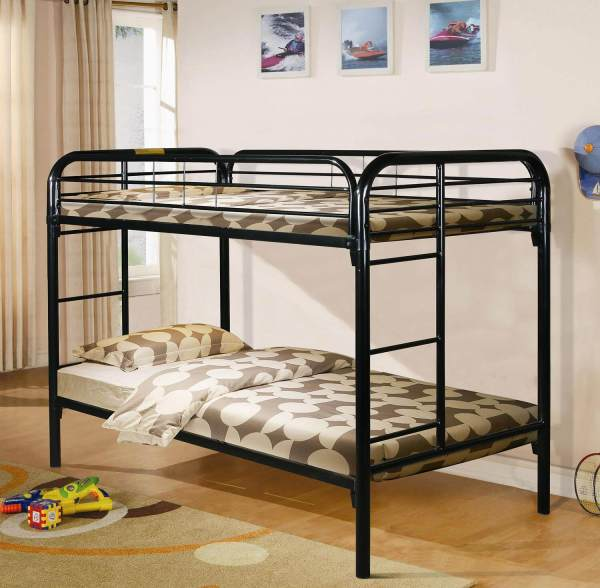 Black Twin Over Metal Bunk Bed Kids' Beds