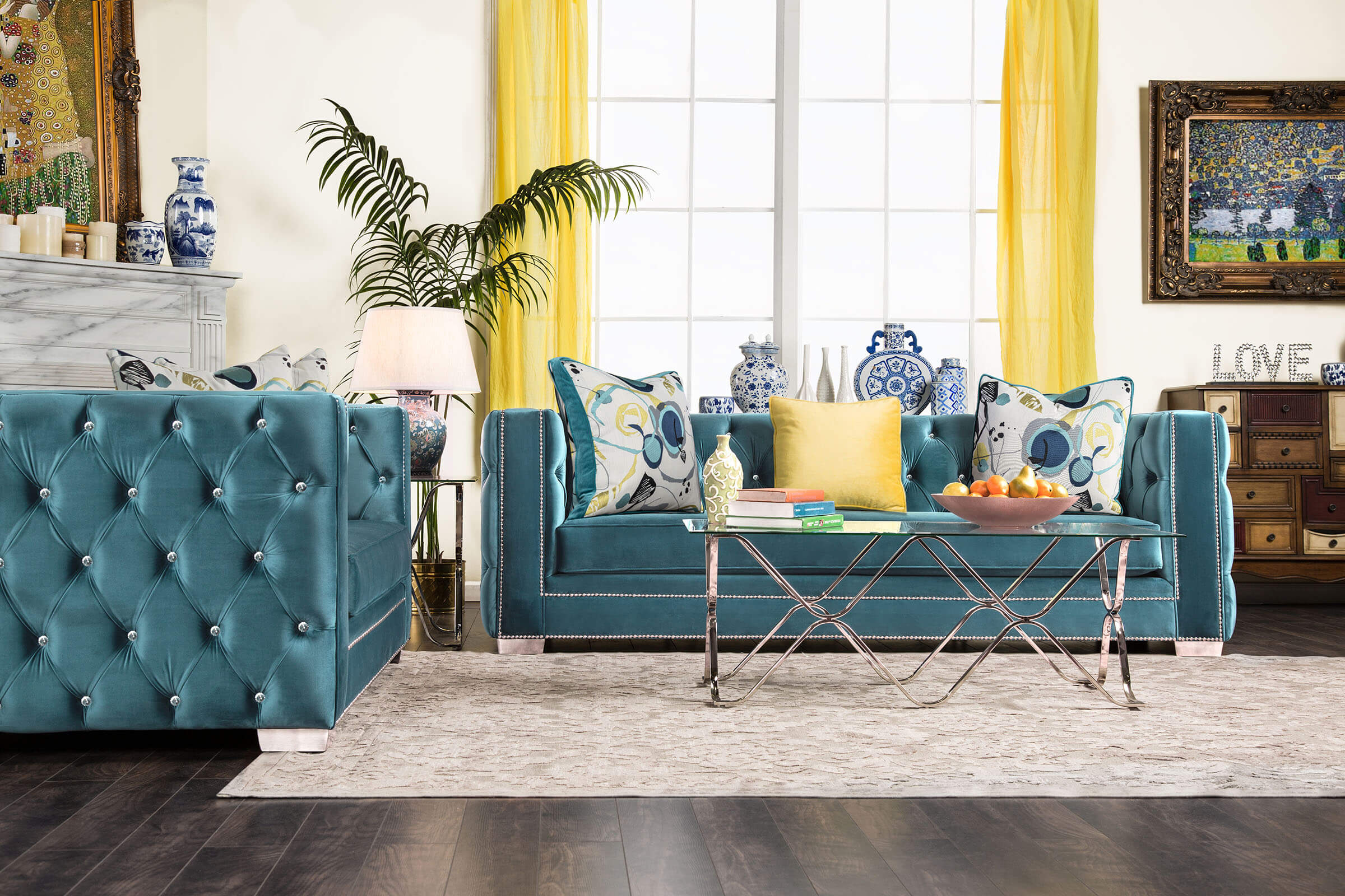 Salvatore Turquoise Sofa And Loveseat Fabric Living Room Sets