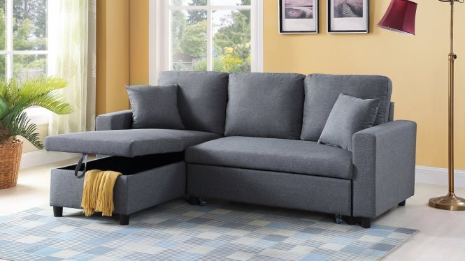 Grey Apartment Sleeper Sectional