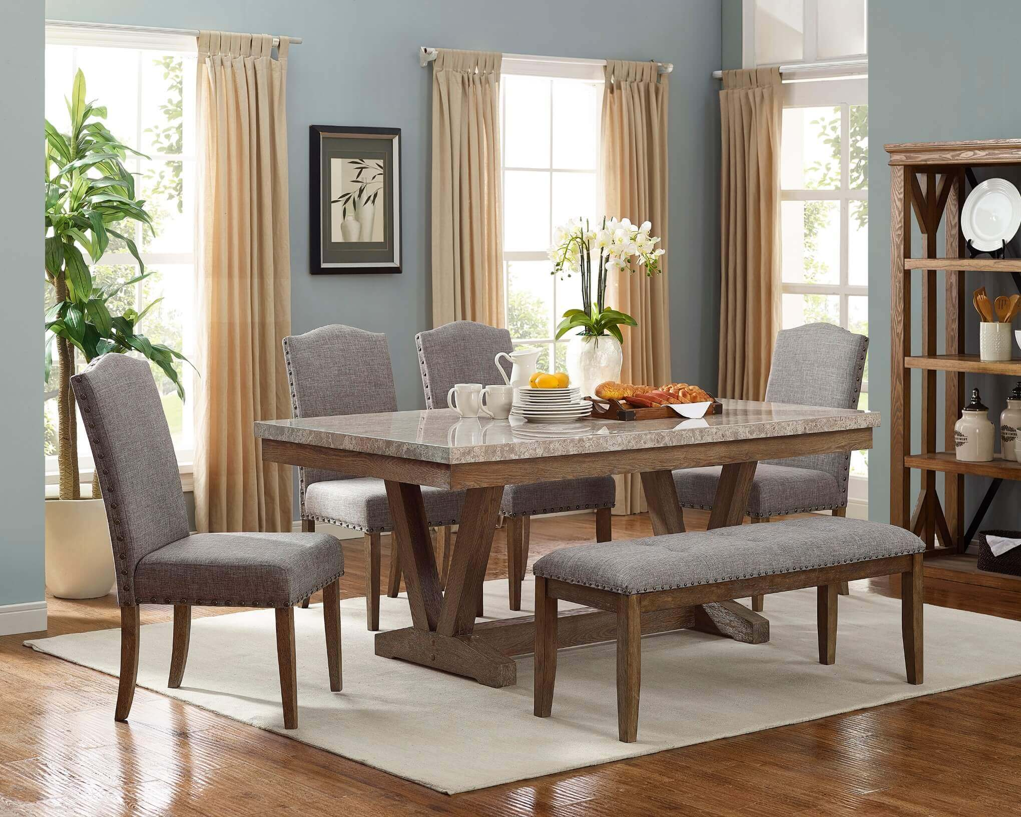 Vesper Marble Dining Room Set Dining Room Furniture
