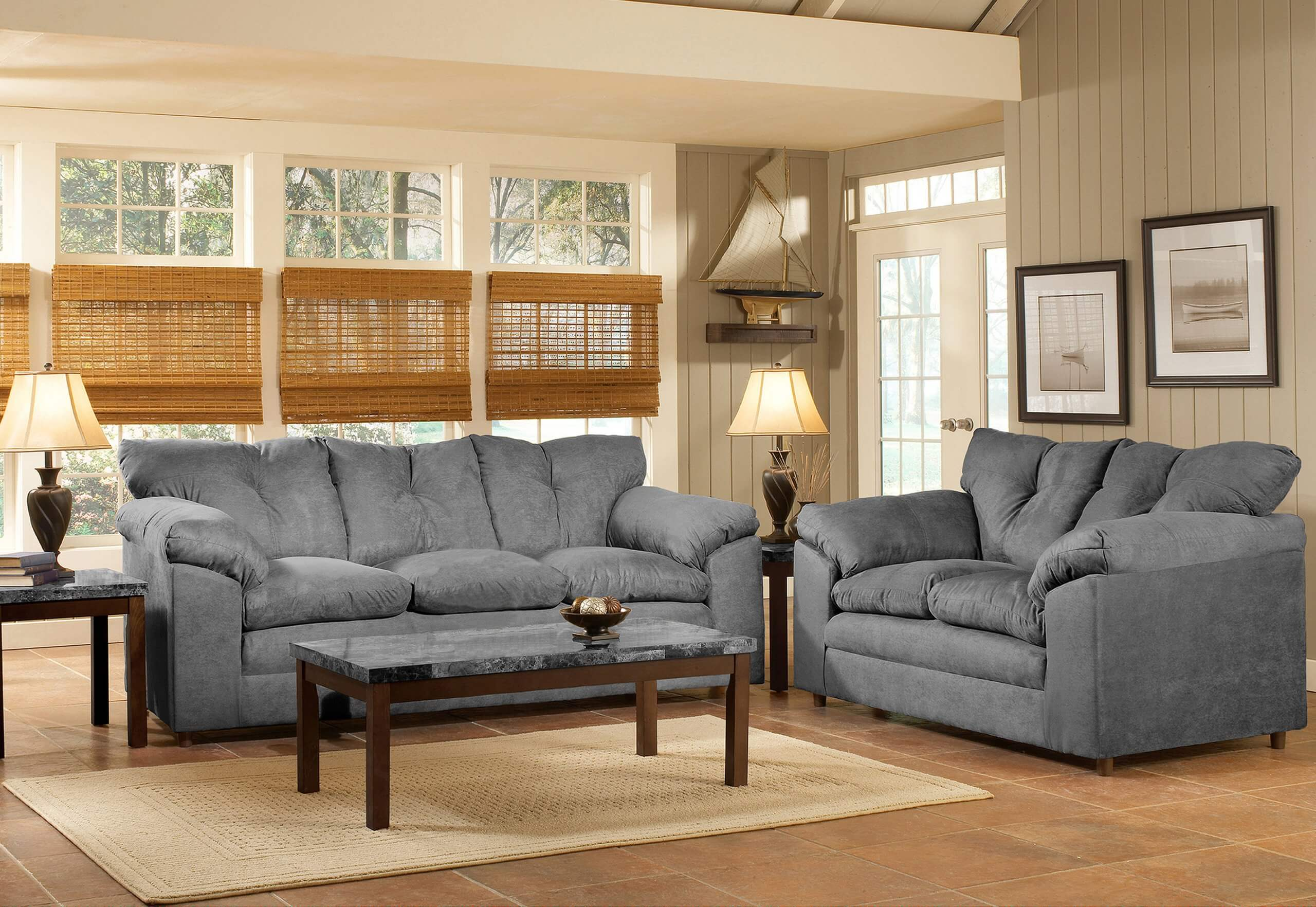 Create the perfect living room for your home by optimizing the color, lighting, furniture placement, accessories, and more. Bulldozer Graphite Sofa and Loveseat | UFO