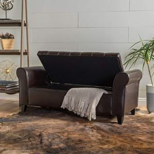 "Christopher Knight Home Living Stafford Brown Leather Armed Storage Bench, 19.5""D x 50.00""W x 19.25""H"