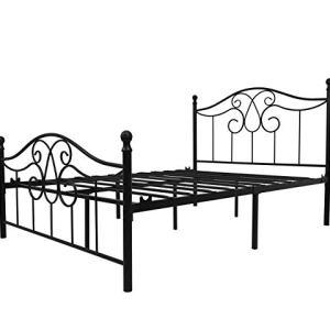 YERPERFO Vintage Sturdy Metal Bed Frame Full Size with Vintage Headboard and Footboard Platform Base Bed Frame No Box Spring Needed Steel Bed,Black,Full.
