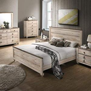 Roundhill Furniture Amerland Contemporary White Wash Finish 6-Piece Bedroom Set,