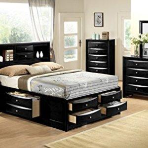 Crown Mark Furniture Emily Captain's Bedroom Set in Dark Espresso