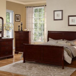Poundex Louis Phillipe Cherry Queen Size Bedroom Set Featuring French Style Sleigh Platform Bed and Matching Nightstand, Dresser, Mirror, Chest