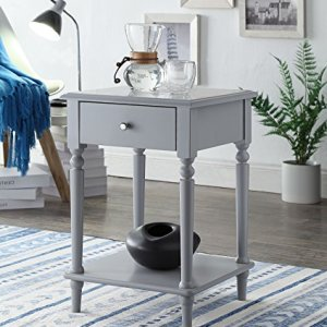 Grey Finish Wooden Turned Legs Nightstand Side End Table with Drawer