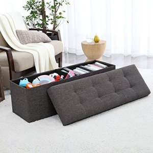 Ornavo Home Foldable Tufted Linen Large Storage Ottoman Bench Foot Rest Stool