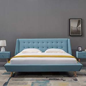 American Eagle Furniture Mid Century Upholstered Platform Bed