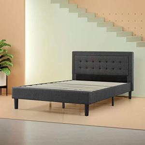 Zinus Dachelle Upholstered Button Tufted Premium Platform Bed / Mattress Foundation / Easy Assembly / Strong Wood Slat Support / Dark Grey, Queen
