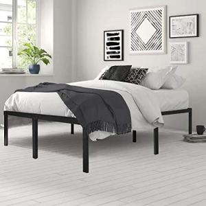 HAAGEEP 18 Inch Queen Bed Frame No Box Spring Needed High Platform Bedframes With Storage Size Black Metal