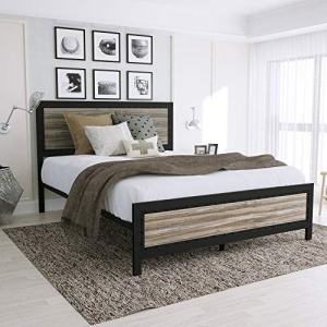Amooly Full Metal Bed Frame with Wood Headboard Platform Bed Frame/Strong Slat Support/Easy Assembly/Box Spring Optional